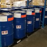 blue drums in warehouse of Jay Chemicals