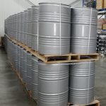 new delivery of raw chemicals in grey drums